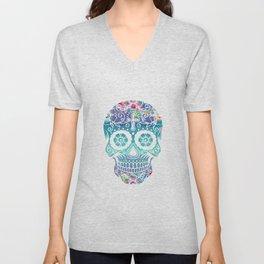 Watercolor floral sugar skull Unisex V-Neck