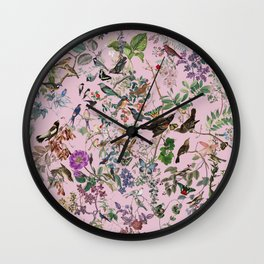 Bird menagerie mauve Wall Clock