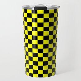 Yellow Black Checker Boxes Design Travel Mug