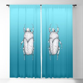 White Marble Beetle on Blue Background Blackout Curtain