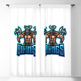 Viking Mascot Gaming Logo Design Holding Axe Blackout Curtain
