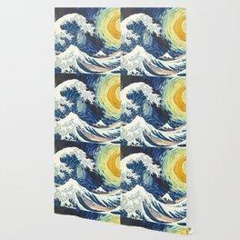 Starry Night Over The Great Wave Off Kanagawa Van Gogh/Hokusai Wallpaper