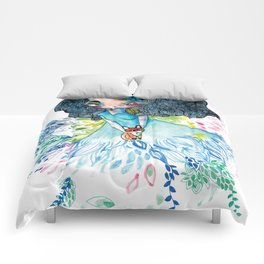Blue nature with baby fox Comforters