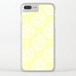 Happy spirals on yellow, pattern. Clear iPhone Case