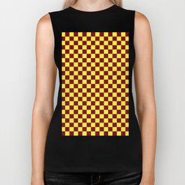 Electric Yellow and Burgundy Red Checkerboard Biker Tank