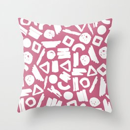 Hand painted pink white brushstrokes geometrical shapes Throw Pillow