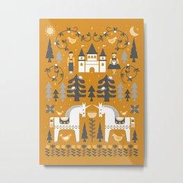 Yellow + Gray Fairy Tale Metal Print