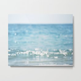 Beach Ocean Photography Art, Blue Coastal Photo, Aqua Seascape Photograph, Waves Art Metal Print