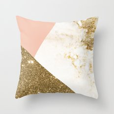 Gold marble collage Throw Pillow