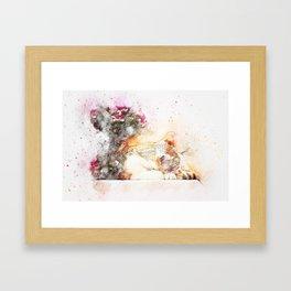 Cat sleeping art abstract Framed Art Print