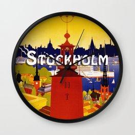 Vintage Stockholm Sweden Travel Wall Clock
