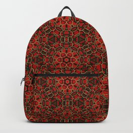 Red Green and Gold Beadwork Inspired Print Backpack