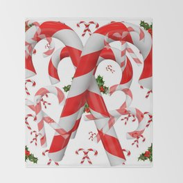 FESTIVE ART RED-WHITE CHRISTMAS CANDY CANES HOLLY BERRIES Throw Blanket