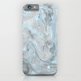 Ice Blue and Gray Marble iPhone Case