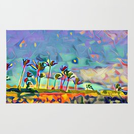 Golden Palm Landscape #3 (Right) Triptych Rug