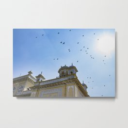 Pigeons Flying through the Sun in front of Chowmahalla Palace in Hyderabad, India Metal Print