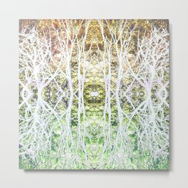 124 - White branches design Metal Print
