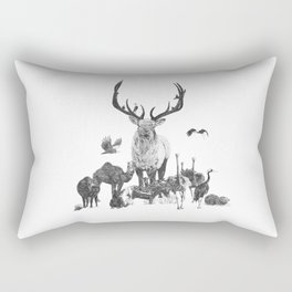The Stag and Festive Animals Rectangular Pillow