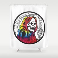 hippie Shower Curtains featuring Hippie Grim by ashetrash