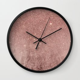Girly Glam Pink Rose Gold Foil and Glitter Mesh Wall Clock