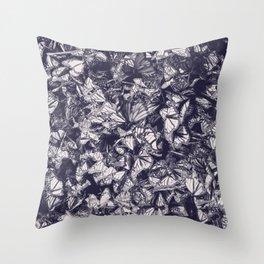 Indigo butterfly photograph duo tone blue and cream Throw Pillow