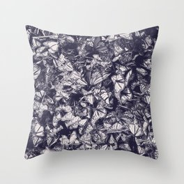 Indigo butterfly photograph duo tone blue and cream Throw Pillow