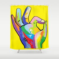 okay Shower Curtains featuring It's Okay! by EloiseArt