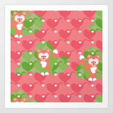 Foxes in the Strawberry patch Art Print