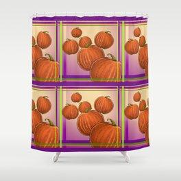 Pumpkin Plaid Shower Curtain