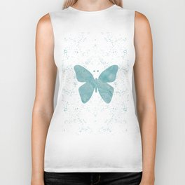 Decorative White Overlay Turquoise Marble Buttefly Biker Tank