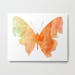 Orange Watercolor Butterfly Metal Print