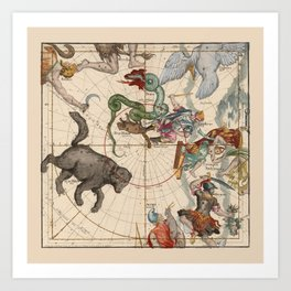 Pictorial Celestial Map with Constellations Ursa Major and Ursa Minor Art Print