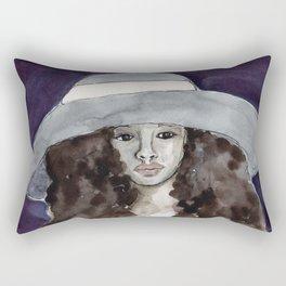 Big Hat Small Girl Rectangular Pillow
