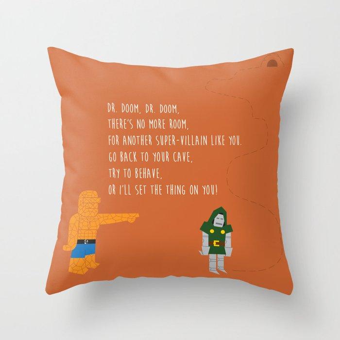 Pop Culture Nursery Rhymes: Dr. Doom Throw Pillow