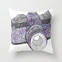 camera Throw Pillows featuring camera by smurfmonster