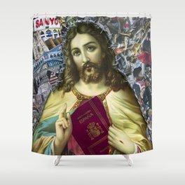 Jesus loves Refugees Shower Curtain