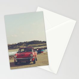 Triumph Spitfire by the sea, with ship, fine art photo, british car, sports car, color, high definit Stationery Cards