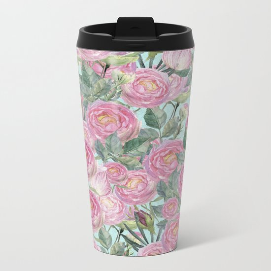 Vintage Roses Mint Metal Travel Mug