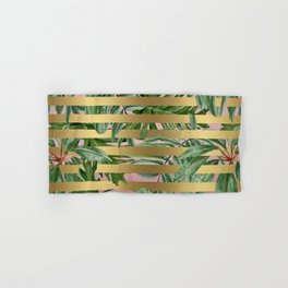 Gold and Pink Tropical Leaves Stropes Hand & Bath Towel