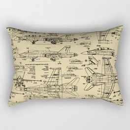 F-18 Blueprints // Tan Rectangular Pillow