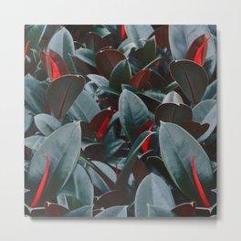 Tropical Leaves Vintage Metal Print