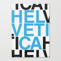 helvetica Canvas Prints featuring Helvetica  by Mackaays