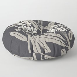 Boho Botanica Black Floor Pillow