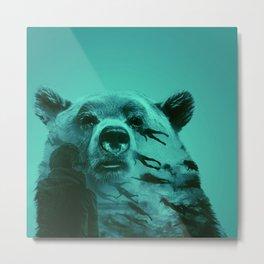 Bear in transition,Blue Metal Print