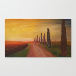 Tuscany Alley Way with Cypress at Dusk Canvas Print