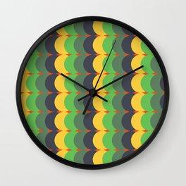 Retro green-yellow pattern 60s / 70s / 80s style Wall Clock