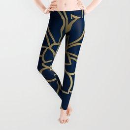 Floral Prints, Line Art, Navy Blue and Gold Leggings