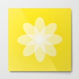 Läpikuultava kukka keltaisella pohjalla Metal Print