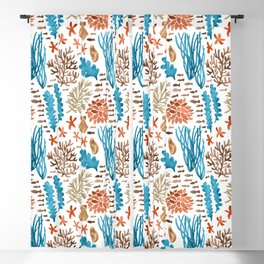 Coral Reef Watercolor Pattern- Teal Blackout Curtain