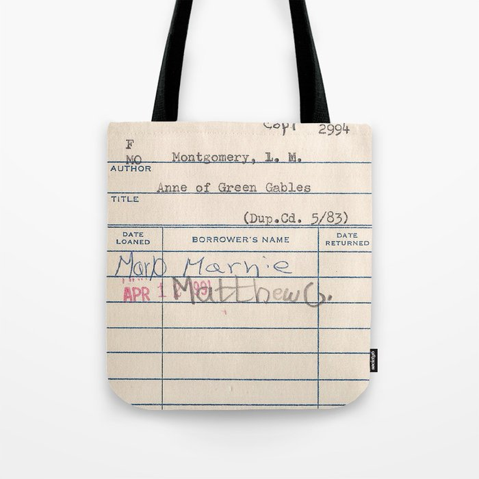Anne of Green Gables library card Tote Bag